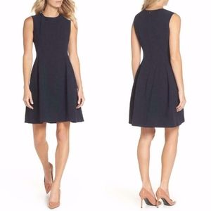 ELIZA J Sleeveless NAVY Crepe FIT & FLARE DRESS 16